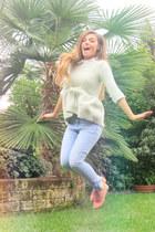 Zara sweater - Zara jeans - H&M t-shirt - studded etam flats