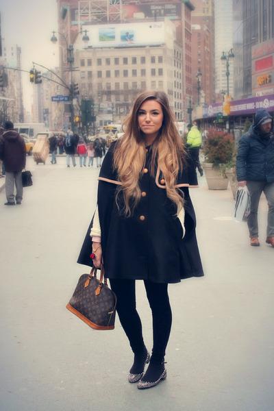 brown alma Louis Vuitton bag - black Lazzari coat - black velvet Zara pants