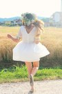 White-chiffon-sheinside-dress-off-white-mary-jane-ovs-flats