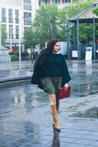 forest green Zara sweater - camel vintage boots - dark green Mango coat