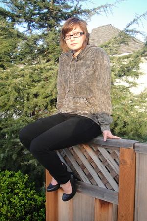 gray American Apparel sweater - black Bullhead jeans - black Diesel shoes - whit