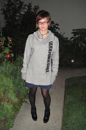 gray Harajuku sweater - black DKNY tights - blue free people dress - silver neck