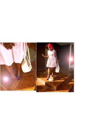 nude Aldo bag - peach Miss Selfridge dress - burgundy Aldo pumps