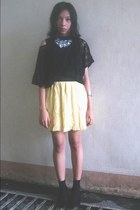 black shoes - black socks - light yellow pleated skirt - black lace top