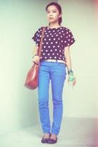 blue pants - tawny bag - silver belt - black polka dots top - black flats