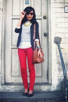 red pants - black blazer - off white shirt - bronze bag - black flats