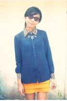 navy sheer shirt - brown sunglasses - mustard bandage skirt - black necklace