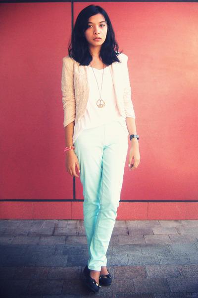 Peach lace blazers white shirts light blue mint green pants black flats pink and mint - Light blue and mint green ...