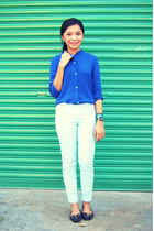 blue top - light blue pants - black flats