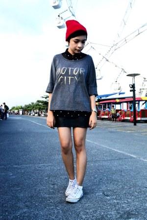 black sheer shirt - heather gray sweater - black leather skirt
