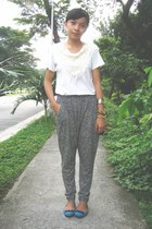 black harem pants - blue flat shoes - white top - black accessories