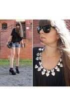 black Miss Sixty boots - black Chanel bag - bronze Hermes belt