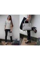 heather gray Lady Dior bag - silver Zara top - silver Miss Sixty heels