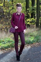 magenta bechickcom shirt - black Zara boots - magenta DKNY bag