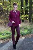 magenta bechickcom shirt - black Zara boots - magenta DKNY bag