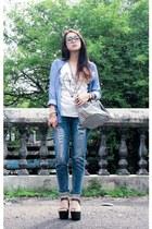 boyfriend jeans Zara Trf jeans - stripes from bangkok bag - UP wedges