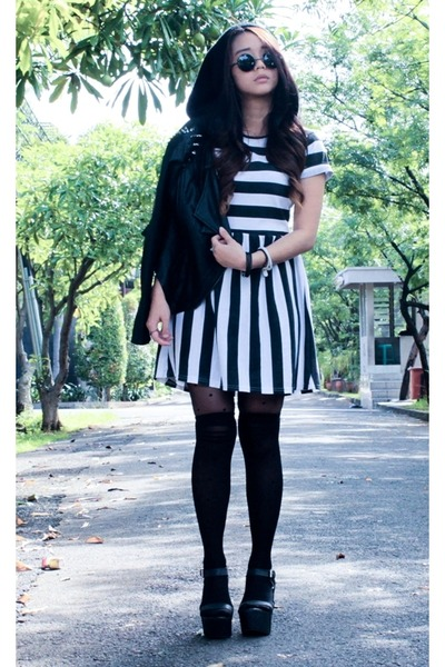 beanie thrifted hat - stripes Tipsy Bangkok dress - Forever 21 jacket