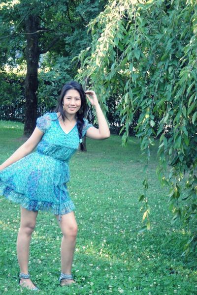 turquoise blue sheer camillo franchini dress