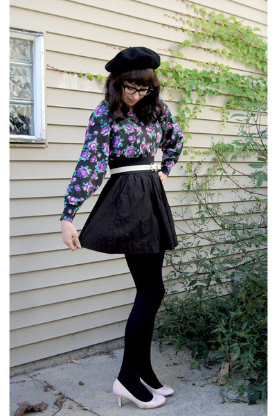 black beret 1960s vintage hat - light purple Saks Fifth Ave sweater