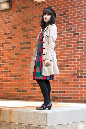 red vintage dress - H&M coat - black vintage hat - black Target tights