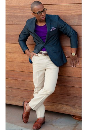 deep purple blazer - brown loafers