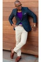 deep purple blazer - brown loafers