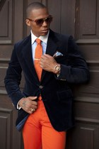 carrot orange pants - navy blazer