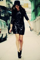 black sequin Disco Pony dress