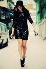 Black-sequin-disco-pony-dress