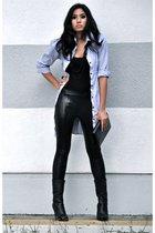 black random top - black calvin klein boots - blue boutique dress