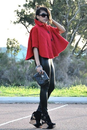 red wool Vintage Versace cape - black snake print custom made leggings