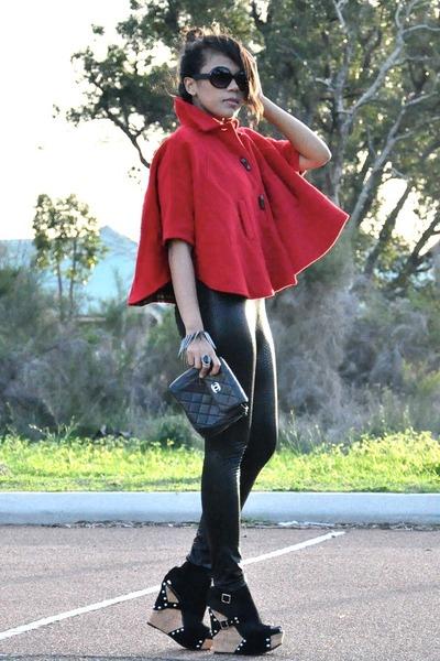 red wool Vintage Versace cape - black snake print custom made leggings