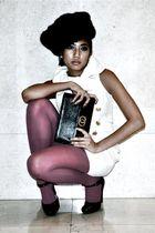 white vintage dress - pink random stockings - black vintage hat - black vintage