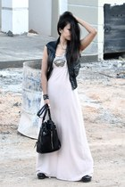 black betts boots - light pink Temt dress - black flea market bag - black FREEDO