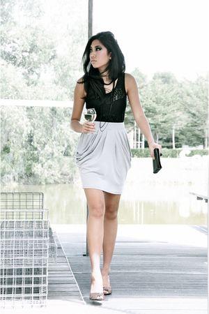 beige Zara shoes - black vintage bag - black vintage top