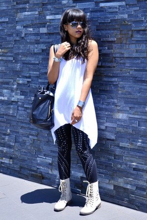 black studded supre leggings - off white lace up Steve Madden boots