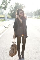black calvin klein boots - brown Zara bag - dark brown Mango sunglasses - light