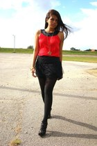 red Express top - black boutique skirt - black thrifted stockings - black Nine W