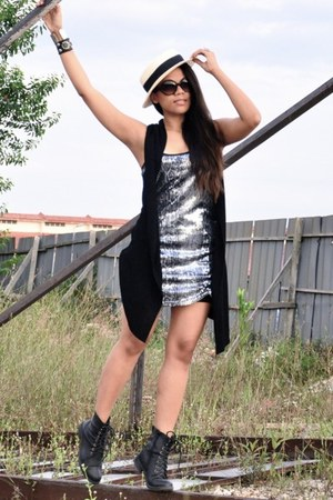 silver sequined Bershka dress - black flea market boots - ivory Sportsgirl hat