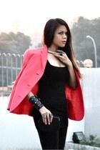 hot pink Vintage Versace blazer - black Forever 21 leggings