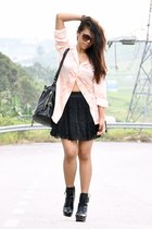 black betts boots - peach Vintage Escada shirt - black Market bag - dark brown M