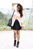 black betts boots - peach Vintage Escada shirt - black Market bag - dark brown M