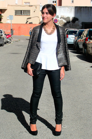 black pull&bear blazer - black Lefties bag - white Lefties t-shirt