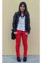red pants - black Primark boots - black Zara jacket - white Zara t-shirt