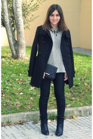 black Primark boots - black Promod coat - black Lefties bag - black H&amp;M pants