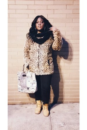 camel Timberland boots - coat - black high-waisted American Apparel pants
