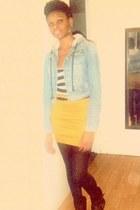 black boots - light blue jacket - navy opaque tights - mustard belted skirt