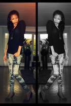 black H&M shirt - gray Newlook pants