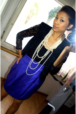 purple H&M skirt - white H&M accessories
