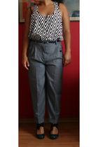 silver Snob pants - white H&M top - gray killah scarf
